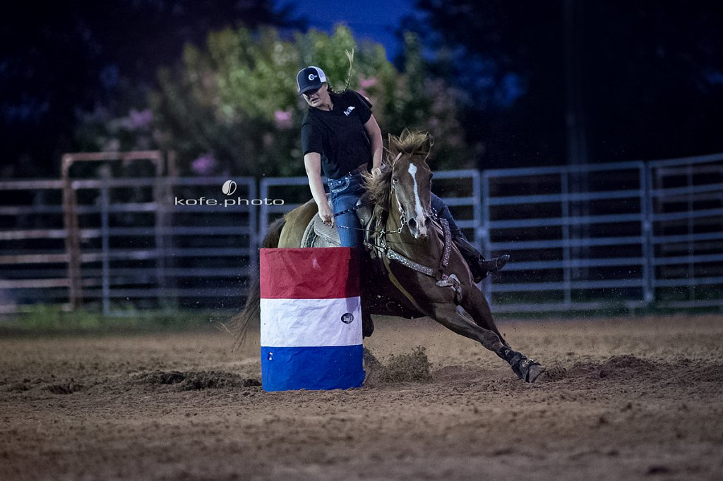 Samantha Ingram on Handy As Hickory. Barrel racing at Windy Acres Farms.