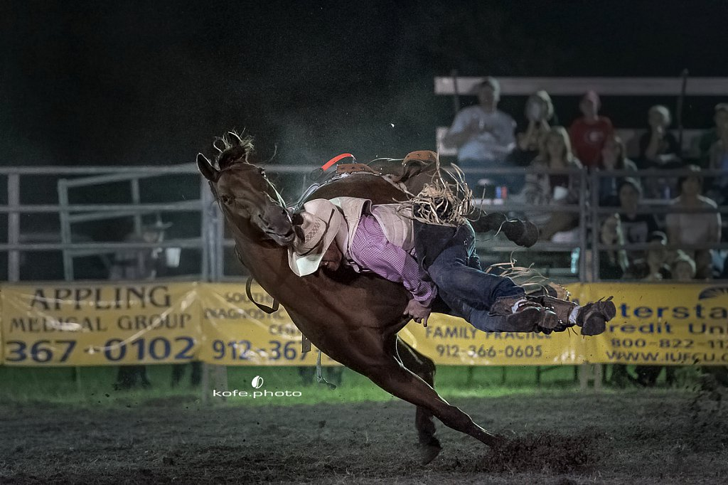 Blake Arp. Baxley Lions Club Rodeo. September 30th 2017. Bare Back and Saddle Broncs. Baxley Georgia.